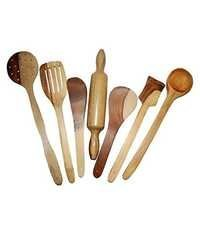 Desi Karigar Wooden Spoon Set of 7 Pcs/ Wooden Spatula, Ladle & Kitchen Tools Set