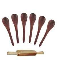 Desi Karigar Wooden 6 Soup spoons and a rolling pin