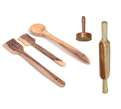 Desi Karigar Wooden tools of kitchen (set of 5)