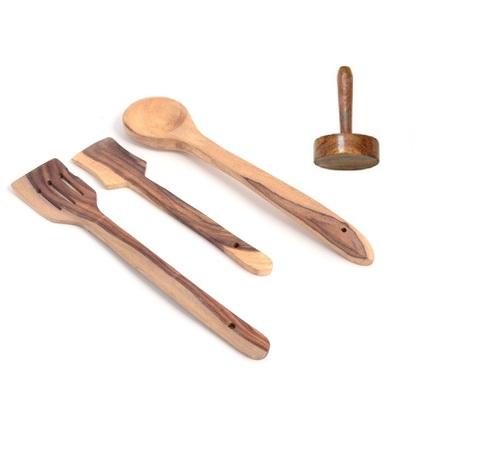 Desi Karigar Wooden tools of kitchen (set of 4)