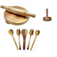 Desi Karigar wooden skimmers set with chkla belan and masher