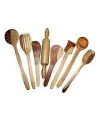Desi Karigar Wooden Spoon Set of 8 Pcs/ Wooden Spatula, Ladle & Kitchen Tools Set