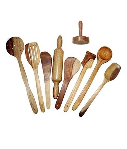 Desi Karigar Wooden Spoon Set of 9 Pcs/ Wooden Spatula, Ladle & Kitchen Tools Set