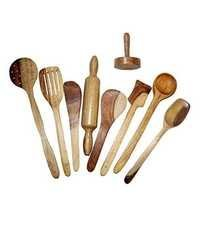 Desi Karigar Wooden Spoon Set of 9 Pcs/ Wooden Spatula, Ladle & Kitchen Tools Set