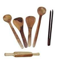 Desi Karigar Wooden ladles, rolling pin and chimta