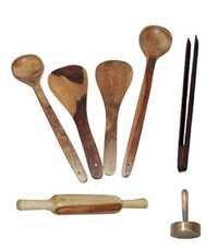 Desi Karigar Wooden Ladles, Rolling Pin, Masher And Chimta