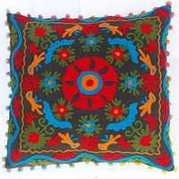 COTTON WOLL EMBROIDERED SUZANI CUSHION COVER 16x16 INCHES