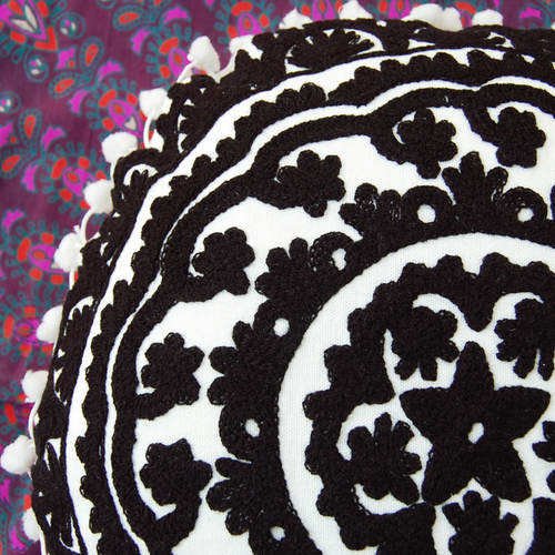 Black & White Indian Suzani Cushion Cover