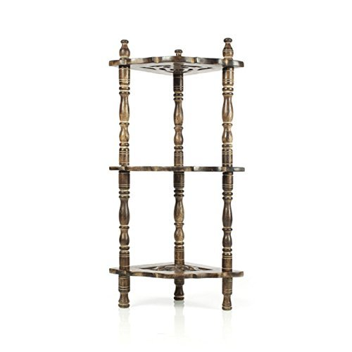 Desi Karigar Mini Wooden corner rack side table home décor carved end table furniture shelves