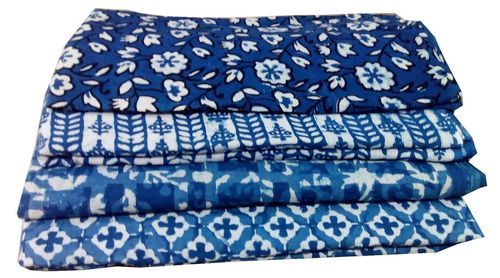 HAND BLOCK PRINT COTTON FABRIC 60x60 VOILE DABU PRINT INDIGO BLUE