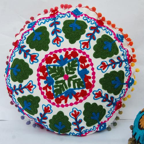 Indian Handmade Round Suzani Cushion Covers