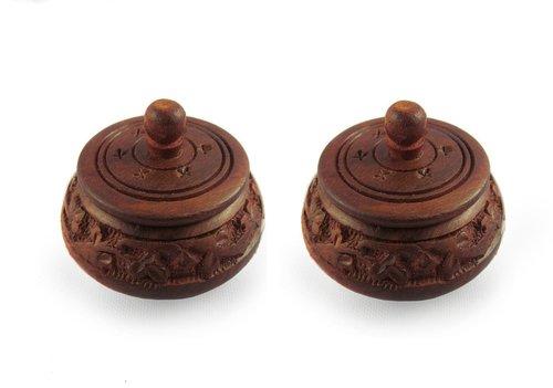 Desi Karigar Small fancy traditional wooden full carved shingaar box set of 2