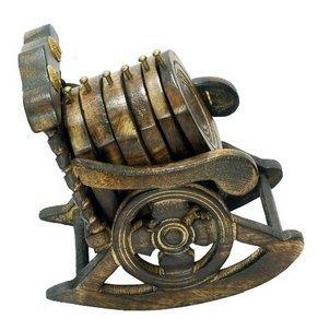 Desi Karigar Wooden Chair Coaster Set ( Black )