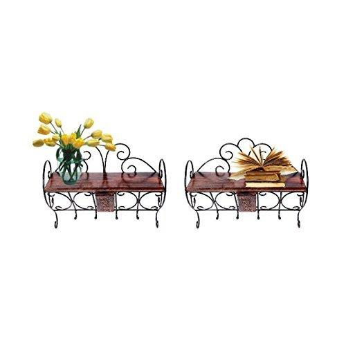 Desi Karigar Wooden & Wrought Iron Wall Bracket | Book Rack | Cloth Hanger Set of 2