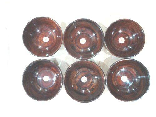 Desi Karigar Wooden Bowl Set of 6 & Free 6 Tea Spoons ( Brown, 4 inch )