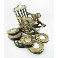 Desi Karigar Beautiful miniature rocking chair design wooden tea coffee coaster set