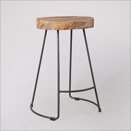 Wood Top Iron Leg Sitting Stool