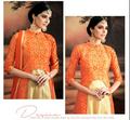 orange designer georgette saree with heavy border