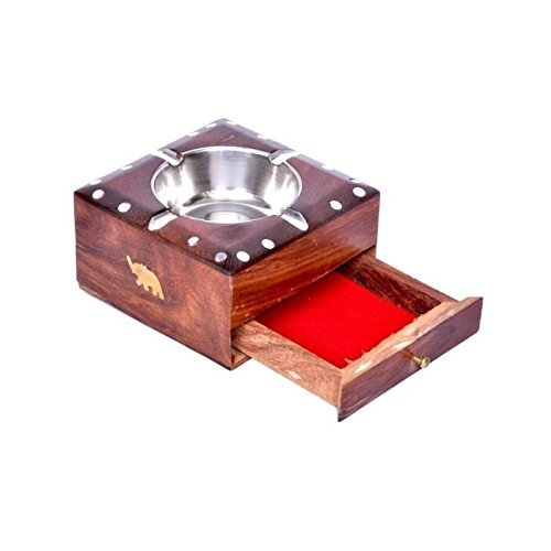 Desi Karigar wooden Ashtray Ash Tray House Car Cigarette Gift Holder Cigar antique lighte