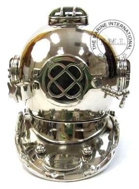 Nickle Diver's Helmet - Diving Helmet Mark V in Nickle Finish