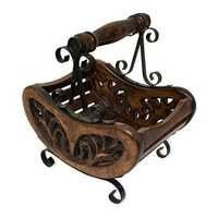 Desi Karigar Wooden & Iron Table Decor Magazine Holder/Rack Size (LxBxH-28x20x30) Cm