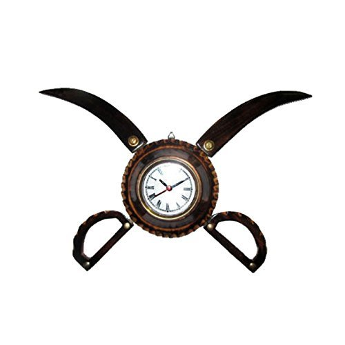 Desi Karigar Antique Wooden Sword Armour Clock