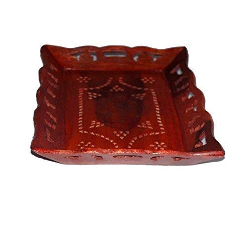 Desi Karigar Wooden Carved Serving Tray (Brown, 10 x 8 inch)