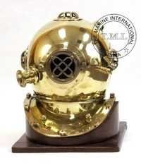 Brass Diving Helmet Mark IV W/Wooden Base