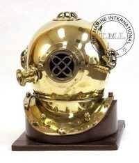 Brass Diving Helmet Mark IV W/Wooden Base