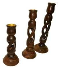 Desi Karigar Wooden Candle Stand ( Brown, 6,8,10 inch )