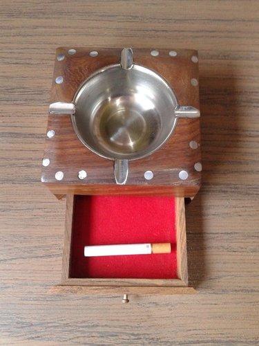 Desi Karigar Wooden Brass Inlay Ashtray + Cig.Case (Brown, 4.5 x 4.5 x 2.2 inch)