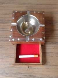 Desi Karigar Wooden Brass Inlay Ashtray + Cig.Case (Brown, 4.5 x 4.5 x 2.2 inch)
