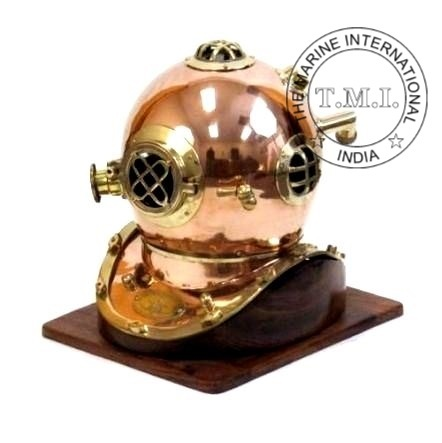 Copper & Brass Diving helmet With Wooden Base