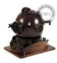 Nautical Antique Mark V Diving Helmet With Wooden Base