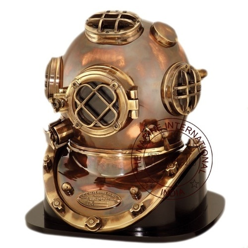 Antique Diving Helmet Mark v With Wooden Base