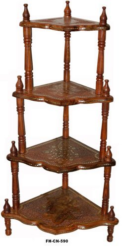 Desi Karigar Wooden 4 Shelf Foldable Corner Rack ( Brown, 10 X 10 X 50 Inch )