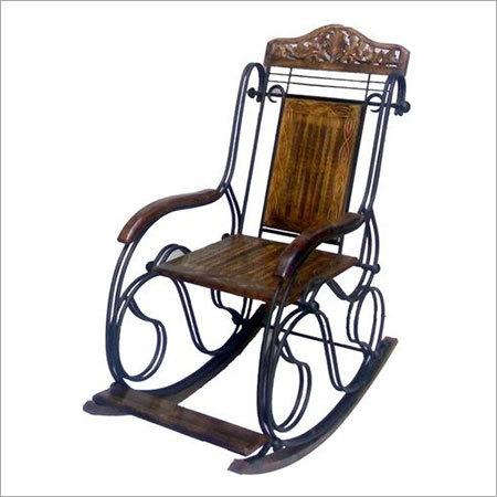 Desi Karigar Wooden & Iron Rocking Chair (Black)