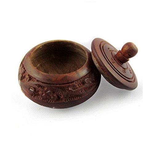 Desi Karigar Shingar Box Brown Wood Handicrafts-Sindoor Box