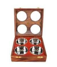 Desi Karigar Wooden Dry Fruit/ Sweets / Spices Box ( Brown, 4 Bowls )