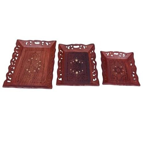 Desi Karigar Wooden Premium Quality Serving Tray With Hand Carved Design Set of 3