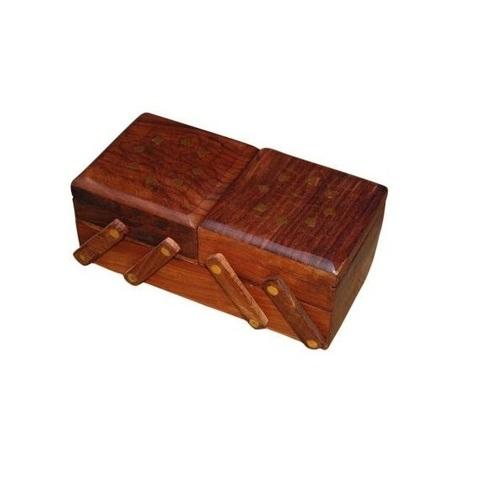 Desi Karigar 3 in 1 Jewellery Box (Bown, 9 x 4 x 4 inch (Closed Box Size))