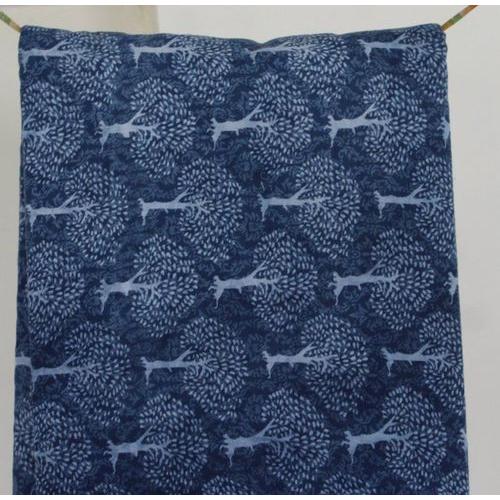 5 meter Sanganeri Hand Block Print Fabric Pure Cotton Indigo Blue Fabric