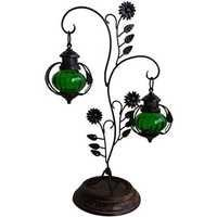 Desi Karigar  Attractive Glass & Metal Candle Stand Lantern Green