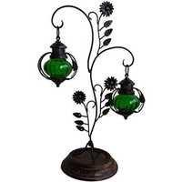Desi Karigar  Attractive Glass & Metal Candle Stand Lantern Green