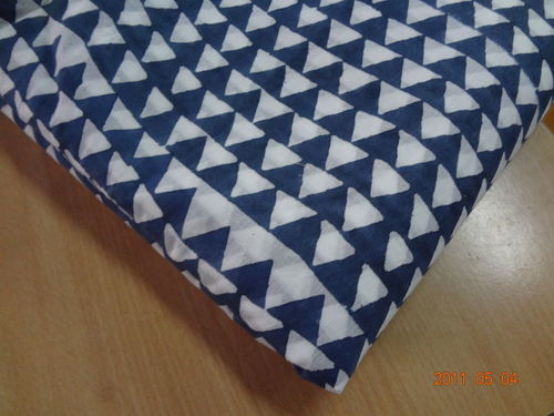 5 Meter indian Hand Block Print Fabric Sanganeri Cotton Indigo Blue Fabric