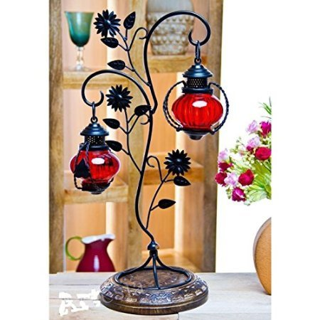 Desi Karigar Attractive Glass with Metal Red Colored Leaf Design candle Stand (11