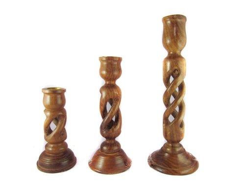 Desi Karigar  Beautiful duel spiral design set of 3 wooden candle holder