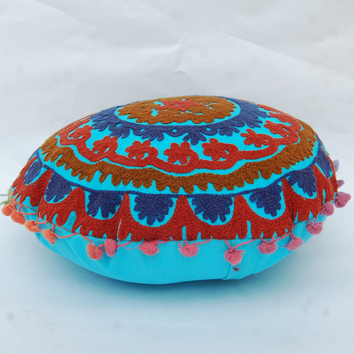 Uzbek Traditional Suzani Embroidery Round Cushion Cover