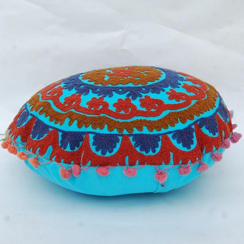 Uzbek Traditional Suzani Embroidery Round Cushion Cover