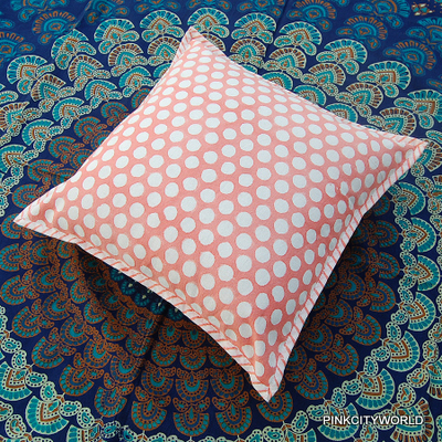 HAND BLOCK PRINT COTTON CANVAS CUSHION COVER HOME DECOR